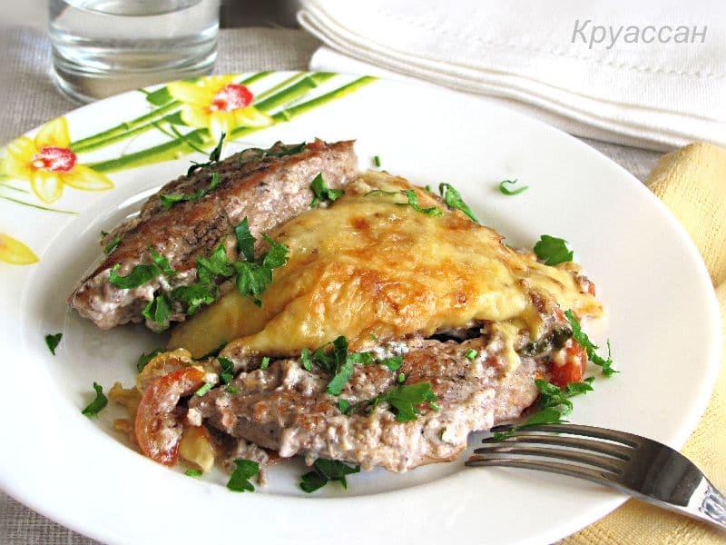 свинина с овощами и сыром