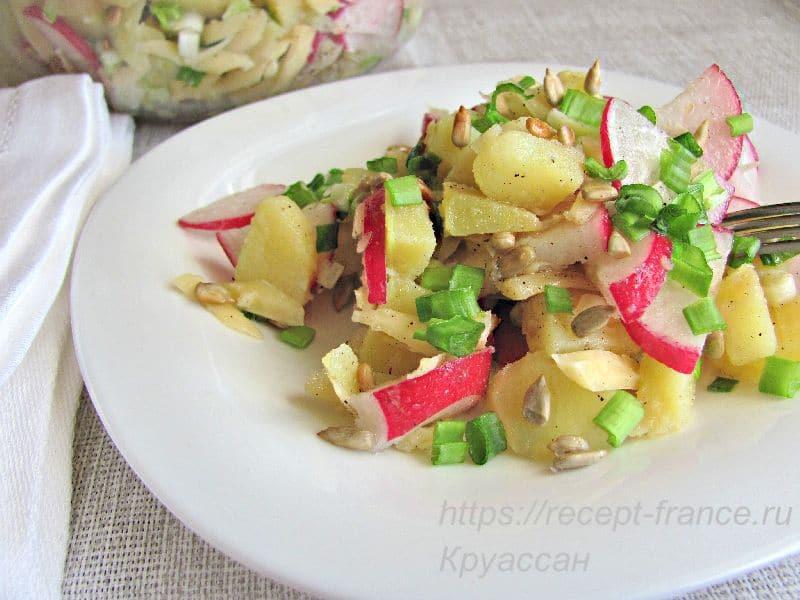 салат из редиса с зеленым луком, картофелем и семечками