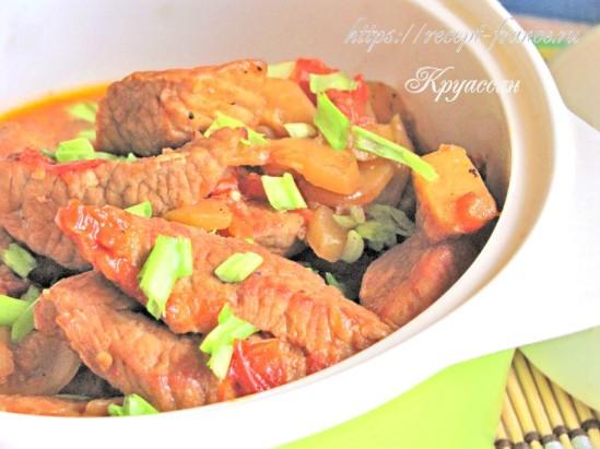 Рагу из свинины с кабачком и томатами