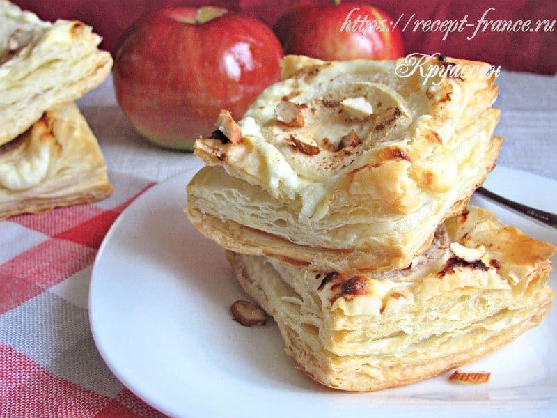 слойки с яблоком и творогом