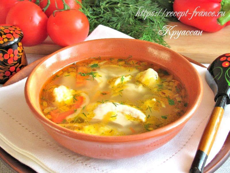 куриный суп с овощами и галушками