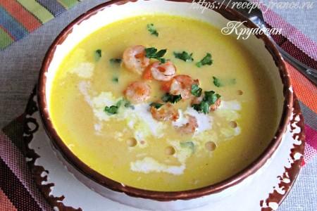 Морковный суп с креветками и кокосовым молоком
