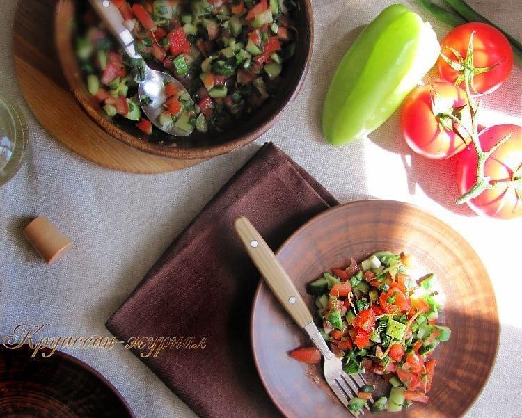 салат из овощей с лимоном