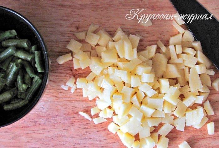 овощной суп с фасолью-приготовление