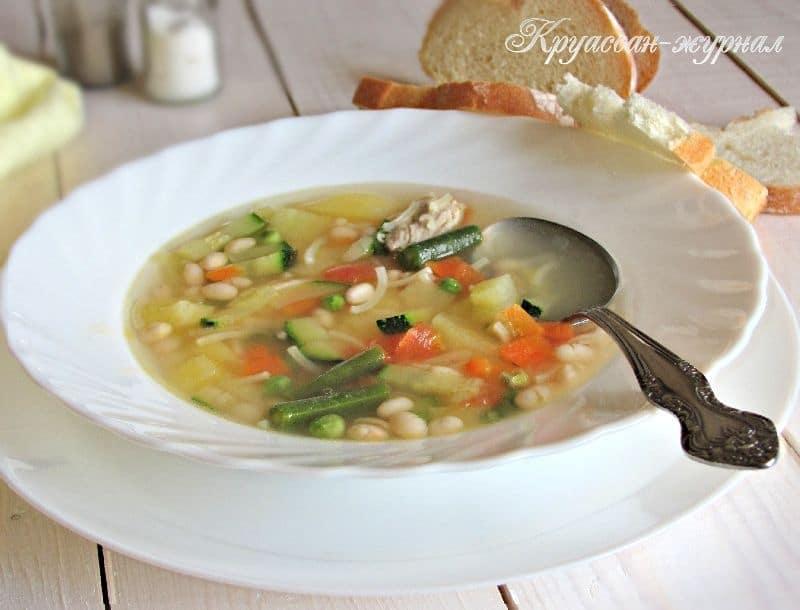 овощной суп с фасолью и вермишелью