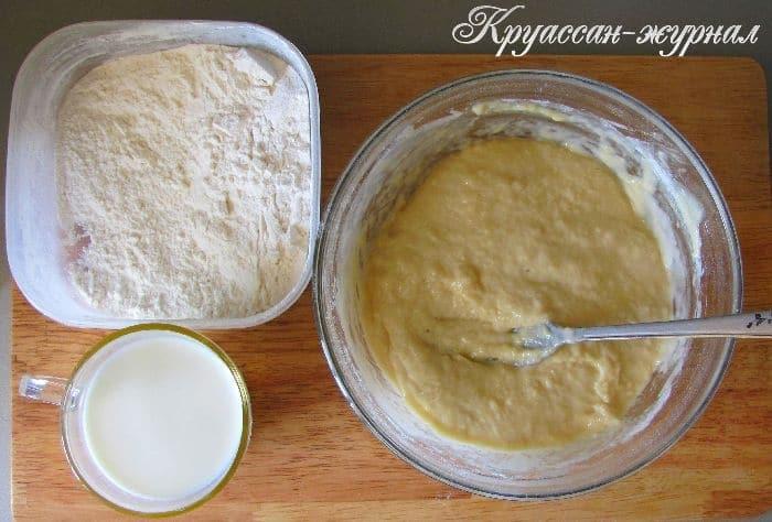 пирог с ананасами-приготовление