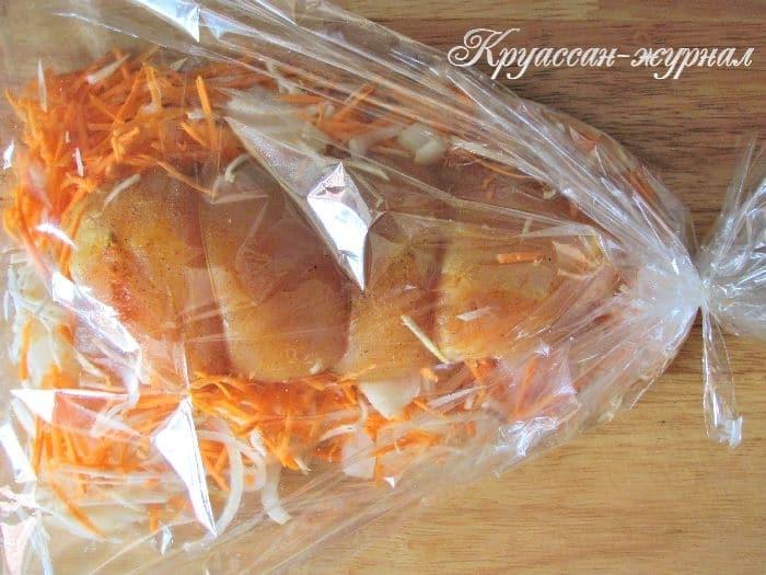 филе индейки с овощами-приготовление