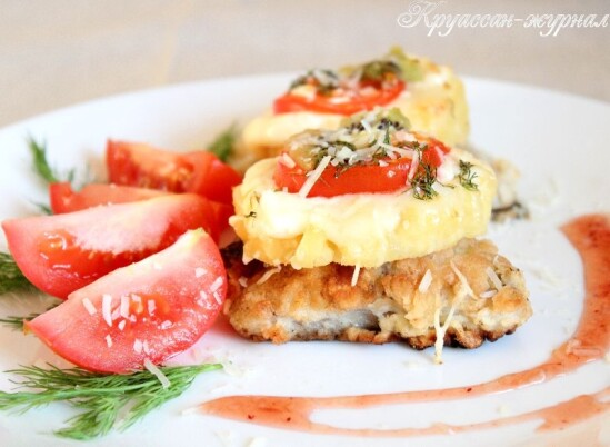 Рыба с ананасами и сыром