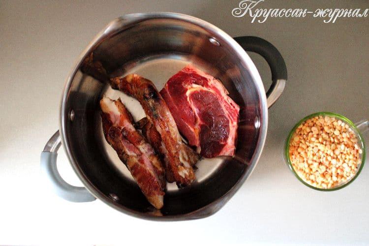 гороховый суп пюре с копчёностями, приготовление